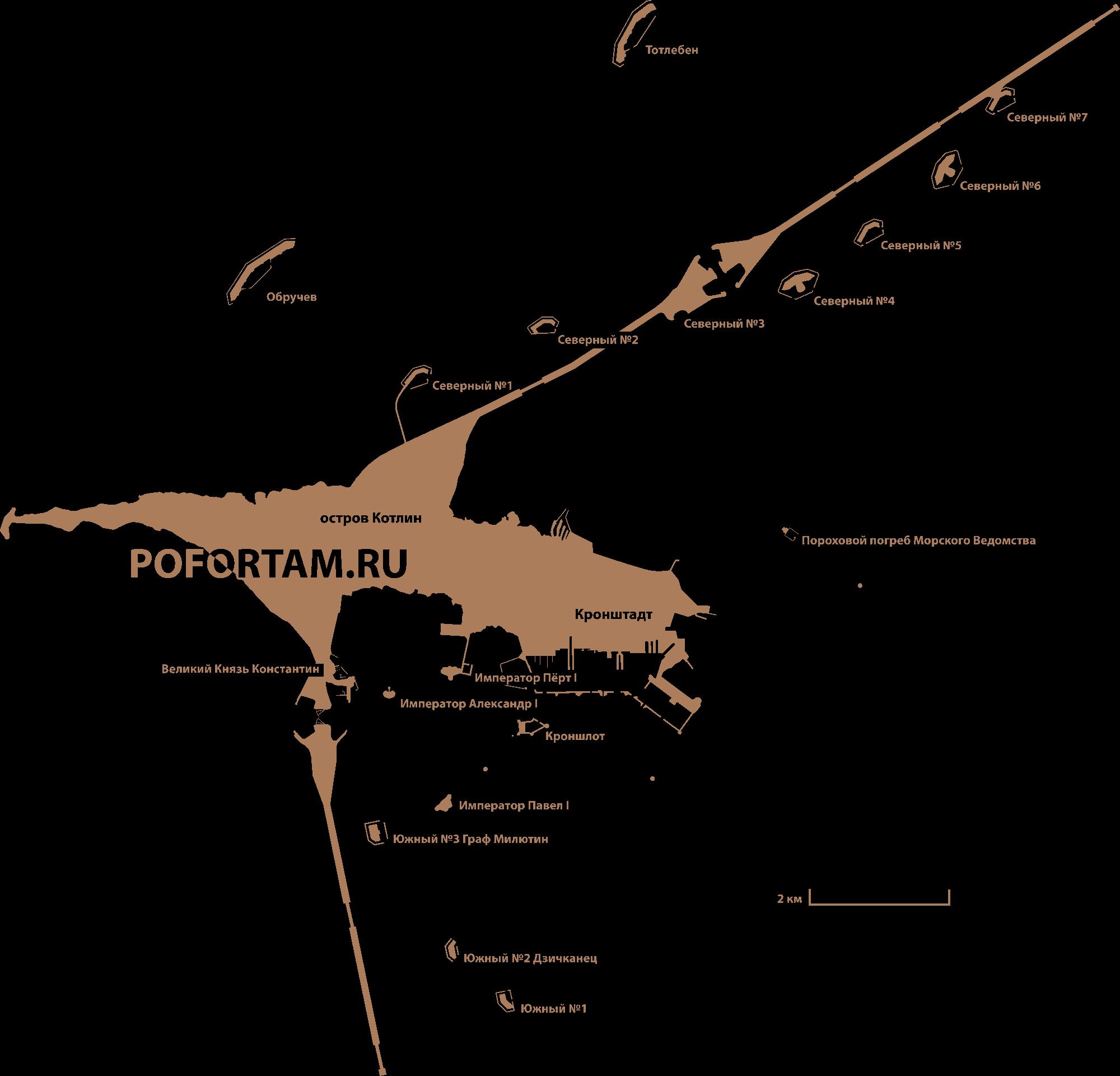 Карта фортов Кронштадта
