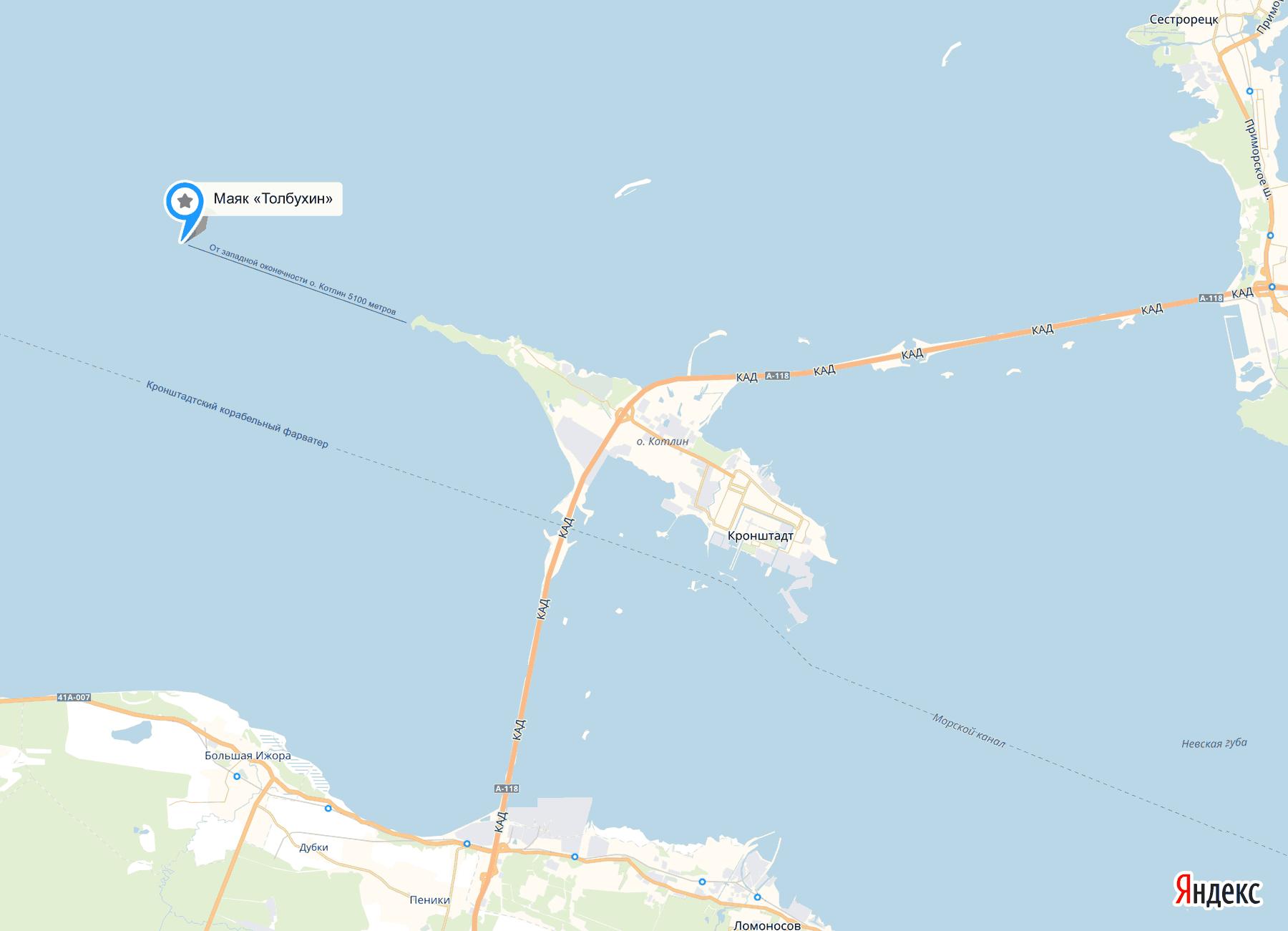 Маяк Толбухин на карте