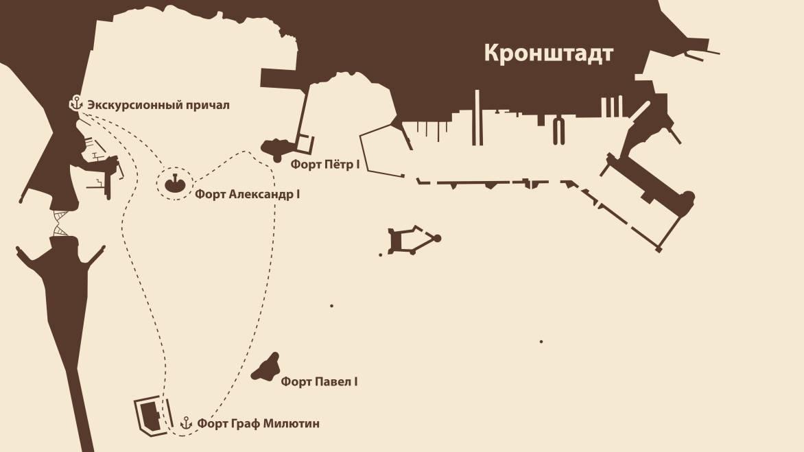 Маршрут экскурсии Форт Граф Милютин