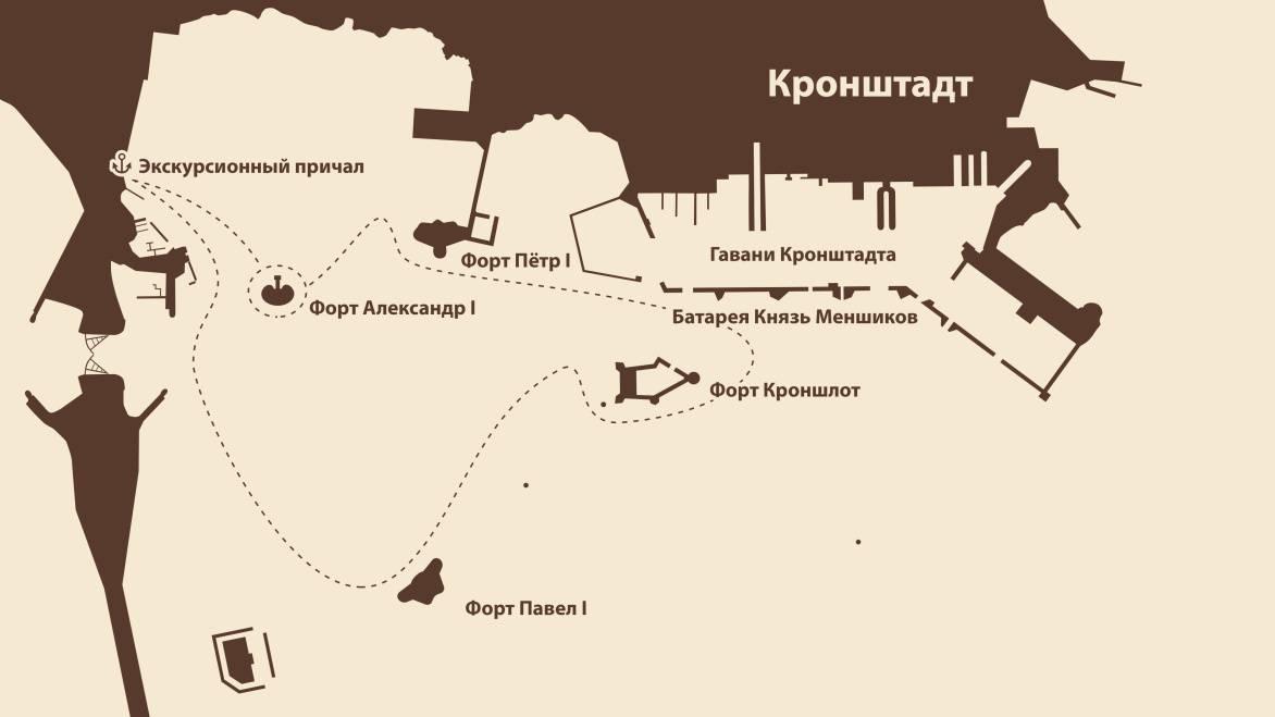 Маршрут экскурсии Форт Кронштадта