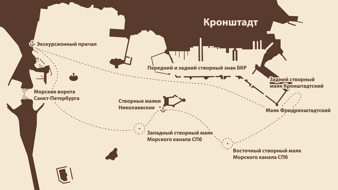 Маршрут экскурсии Маяки Кронштадта