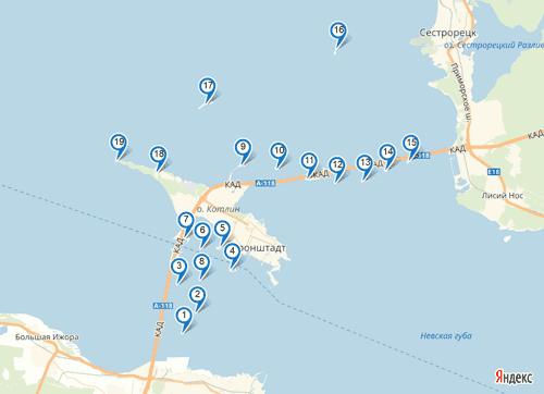 Форты Кронштадта на карте с названиями